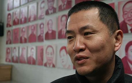 Zhang Bingjian in front of his art installation 'Hall of Fame' Photo: PETER FOSTER