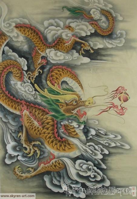 丁仕美大篆书法中堂《龙》